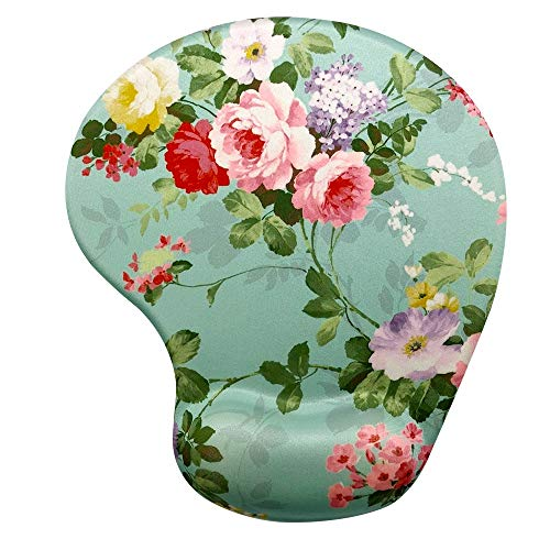 Memory Foam Mousepad with Wrist Support, Floral Gorgeous Flower Unique Design Ergonomic Mouse Pad Wrist Rest, Super Non-Slip PU Base by Apottwal (Image #5)