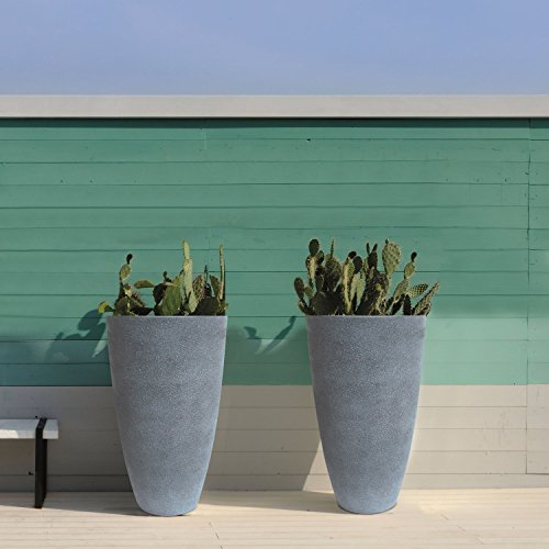 Tall Planters Set 2 Flower Pots, 20'' Each, Patio Deck Indoor Outdoor Garden Resin Planters, Gray by LA JOLIE MUSE (Image #5)