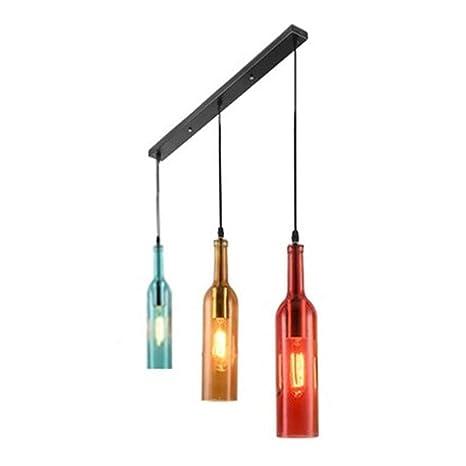 Lámpara de techo con botella de vino de cristal LED, vintage ...