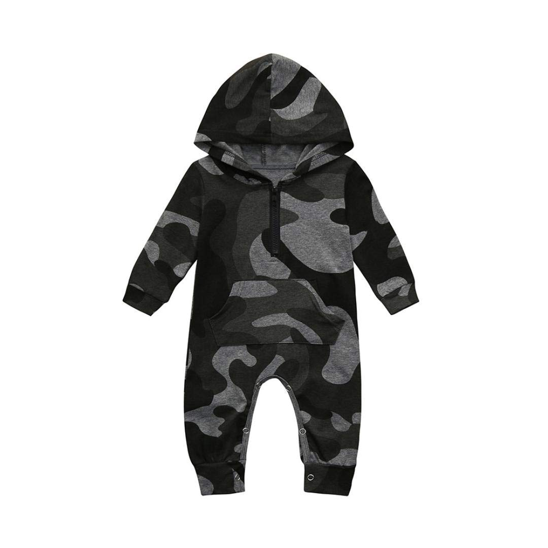 Infant Baby Boys Girls Long Sleeve Zipper Hooded Romper Camouflage Print Pajama Sleeper Pockets Jumpsuit Clothes Outfits (Camouflage, 6-12 Months)