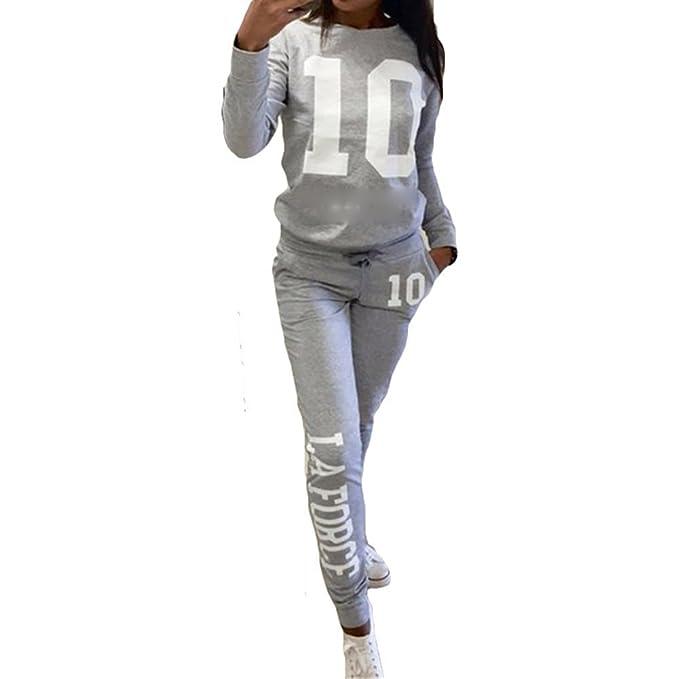 Inlefen Chándal de Las Mujeres Jogging Traje Suave Cómodo Pantalones de  Manga Larga Pullover 2 Piezas 724722ee55e6