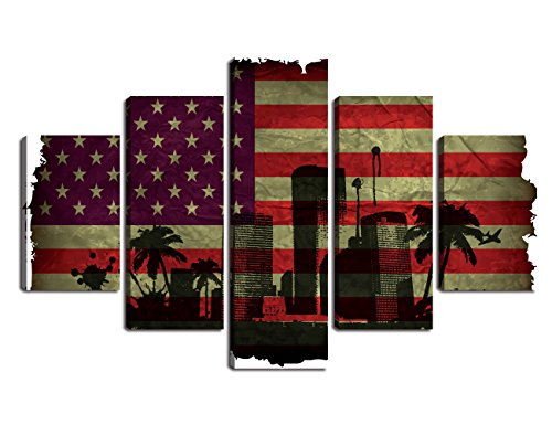 Art Retro American Flag Canvas Extra Large Painting Modern City New York Print USA map Wall Art Vintage Flag Decor Party Giclee Artwork for Living Room Wall Decoration Stretched Framed(60''W x 40''H) -