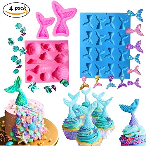(Set of 4) JeVenis Mermaid Tail Mermaid Silicone Fondant Mold for Cake decoration Chocolate Candy Mold Soap Mold Baking Tool Jello Mold Cupcake Topper Ice Tray (4 -