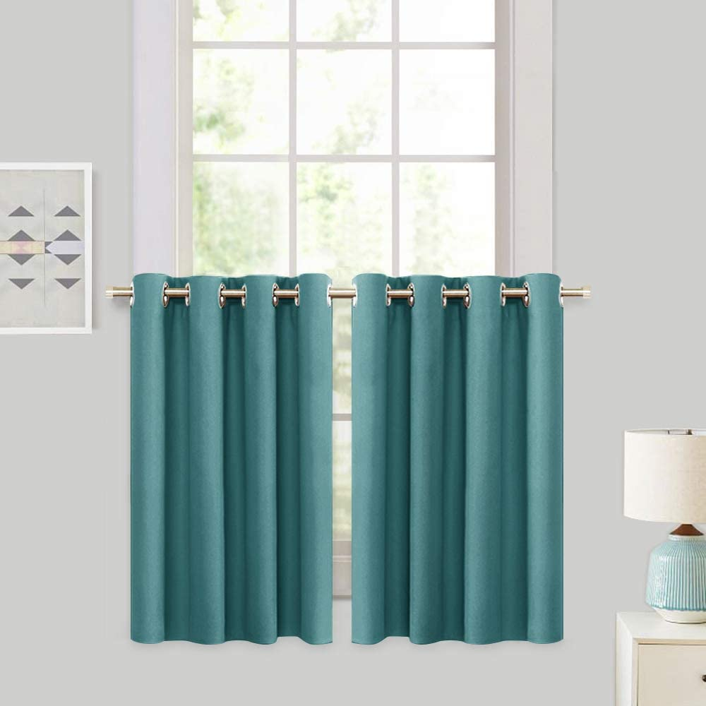 RYB HOME Blackout Tier Curtains for Kitchen - Sunlight Block Energy Efficient Thermal Insulated Drapes for Bedroom Kids Room Dining Foyer Window, 2 Pcs, 52 inch Width x 36 inch Length, Teal