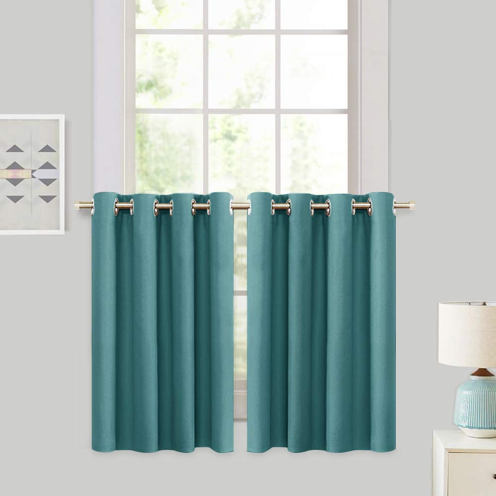 RYB HOME Blackout Tier Curtains for Kitchen - Sunlight Block Energy Efficient Thermal Insulated Drapes for Bedroom Kids Room Dining Foyer Window, 2 Pcs, 52 inch Width x 36 inch Length, Teal by RYB HOME