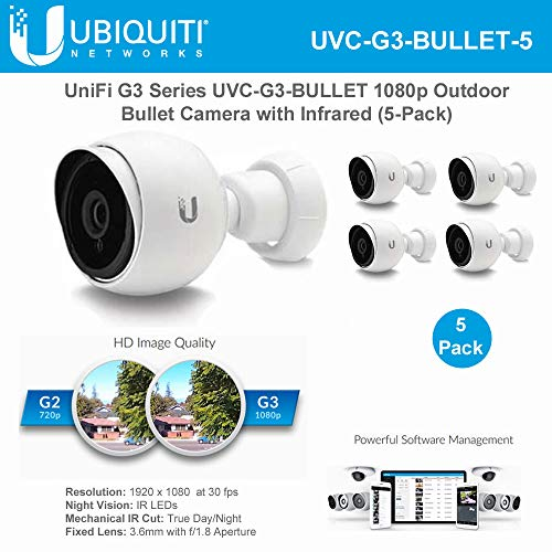 Unifi Bullet Camera G3 Series UVC-G3-BULLET-5 1080p Outdoor IP Bullet Camera with Infrared (5-Pack)