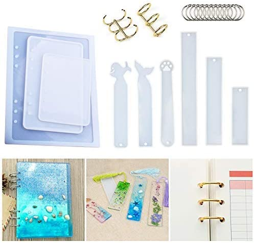 3Pcs Notebook Silicone Molds for Resin Cover A5 A6 A7 for Notebook Resin DIY 18Pcs Single-Ring Book Rings