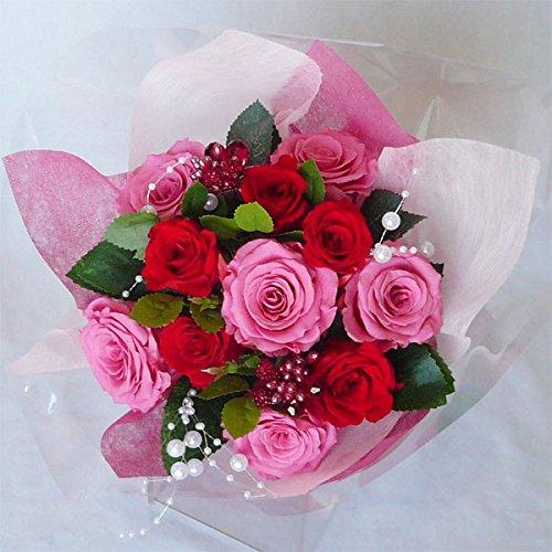 枯れない花 プリザーブドフラワー 花束(誕生日記念日お祝いプロポーズ等に最適) (ピンク) B00QKBI9BA  ピンク