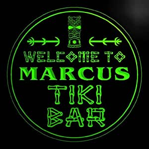 4x ccpm0146-g MARCUS Tiki Bar OPEN Mask Bar Beer 3D engraved Coasters