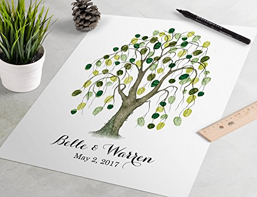 - Fingerprint Guest Book - Classic Willow Tree Fingerprint Guestbook is a charming wedding guest book alternative.