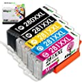 Kingjet Compatible Replacements for PGI-280 CLI-281, PGI-280XL CLI-281XL Ink Cartridges Work with TR7520 TR8520 TS6120 TS6220 TS9520 TS9521C Printers, 5 Combo Pack(1PGBK 1BK 1C 1M 1Y)