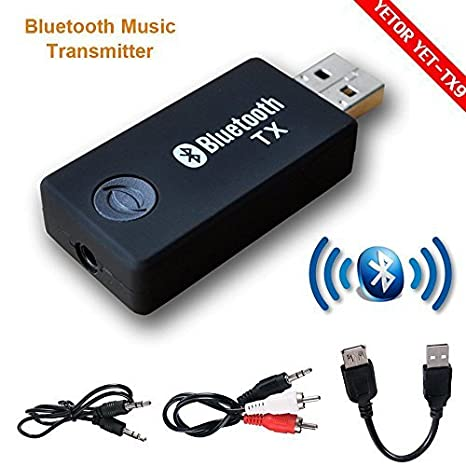 Bluetooth transmisor, yetor 3,5 mm estéreo portátil inalámbrico de audio Bluetooth Transmisor para