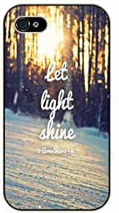 Let light shine - Sun in forest and snow - 2 Corinthians 4:6 - Bible verse iPhone 4 / 4s black plastic case / Christian Verses