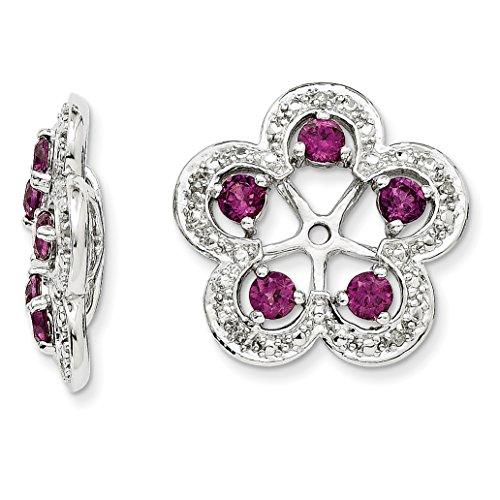 ICE CARATS 925 Sterling Silver Diamond Rhodolite Red Garnet Earrings Jacket Birthstone June Fine Jewelry Gift Set For Women Heart by ICE CARATS