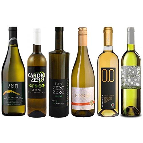 White Wine Sampler - Six (6) Non-Alcoholic Wines 750ml Each - Featuring Ariel Chardonnay, Cardio White, Zero Zero Deluxe White, Zero Blanc, Bianco Dry and Tautila ()