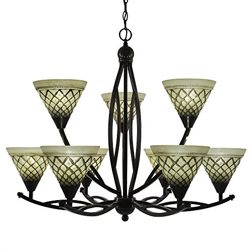Toltec Lighting 279-BC-7185 Bow 9 Light Chandelier Shown in Black Copper Finish with 7-Inch Chocolate Icing Glass