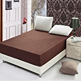 LVOERTUIG Fitted Bed Sheets Pad Protective Jacket Thick Fit Solid Color Cotton Polyester Mattress Soft Wrinkle Resistant 25cm Depth Single, Double, King Super King(120x200cm,Dark brown-120x200cm)