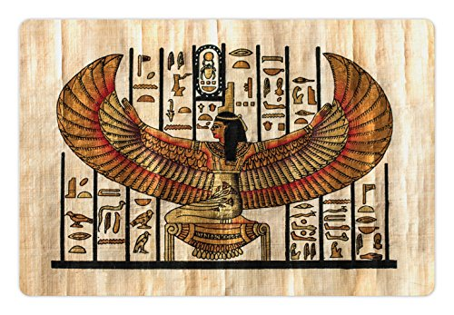 (Lunarable Egyptian Pet Mat for Food and Water, Oriental Historical Art Egyptian Parchment Texture Background, Rectangle Non-Slip Rubber Mat for Dogs and Cats, Vermilion Beige Black)