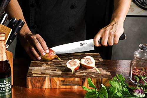 KYOKU Samurai Series, 5-Piece Japanese Knife Block Set - 8'' Chef Knife & 8'' Bread Knife & & 6.5'' Carving Knife & 5'' Utility Knife & 3.5'' Paring Knife & Acacia Wood Block by KYOKU (Image #1)