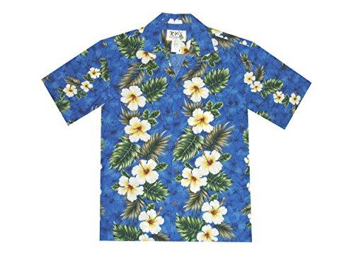 KYS Hawaiian Hibiscus Vertical Flower Hawaii Lei Leis Aloha Shirt (3XL, Navyblue)
