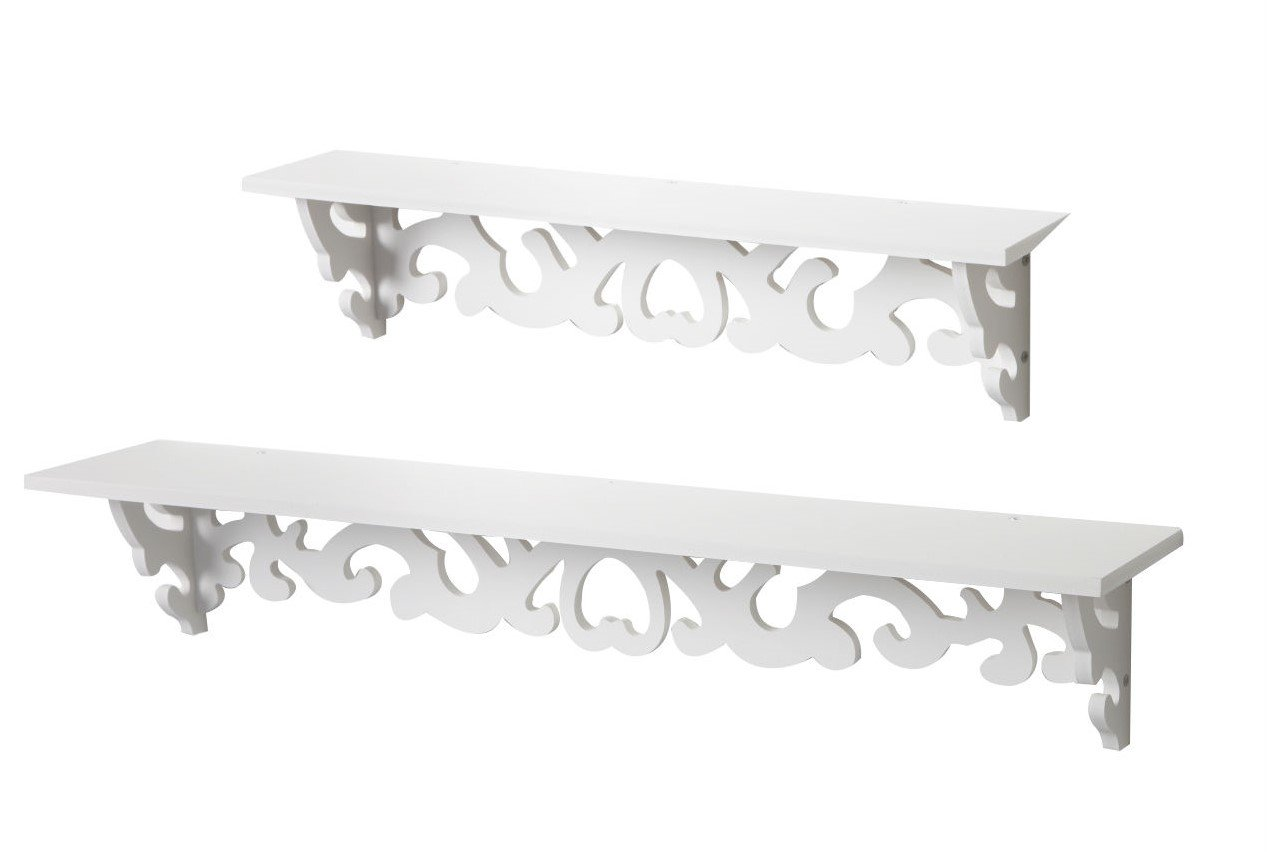 White Filigree Style Shelf, Shabby Chic Cut Out Design, Decorative ...