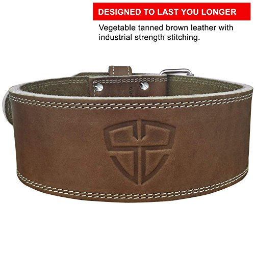 Steel Sweat Weight Lifting Belt - 4 Inches Wide by 10mm - Single Prong Powerlifting Belt That's Heavy Duty - Vegetable Tanned Leather - Hyde Large by Steel Sweat (Image #2)