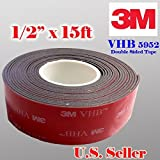 Genuine 3M 1/2' (12mm) x 15 Ft VHB Double Sided Foam Adhesive Tape 5952 Grey Automotive Mounting Very High Bond Strong Industrial Grade (1/2' (w) x 15 ft)