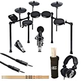 Alesis Nitro Drum Kit, 8-Piece Electronic Kit with Drum Module + CAD Audio MH110 Studio Headphones + On Stage Clamp-On Drum Stick Holder DA100 + TRS Stereo Cable + Vic Firth American 5A Drum Sticks
