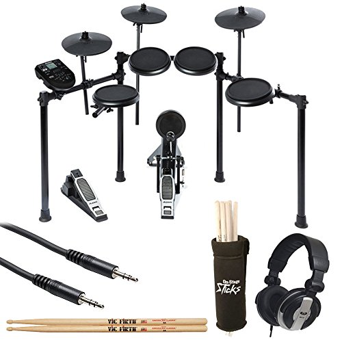 Alesis Nitro Drum Kit, 8-Piece Electronic Kit with Drum Module + CAD Audio MH110 Studio Headphones + On Stage Clamp-On Drum Stick Holder DA100 + TRS Stereo Cable + Vic Firth American 5A Drum Sticks by Photo4Less