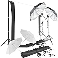 Photography Umbrella Continuous Lighting Kit,Muslin Backdrop Kit(White Black), Backdrop Clips Clamp,10ft Photo Background Photography Stand System for Photo Video Studio Shooting