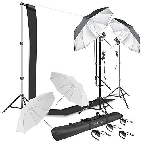 Photography Continuous Lighting Kit, Muslin Backdrop Kits 10 x 6.5 ft White & Black 400W 5500K Photography Daylight Umbrella Reflector Chromakey Background Stand Kit for Photo Video Studio Shooting by HYJ-INC