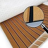 WINGOFFLY New Design Bevel Edges EVA Faux Teak Decking Sheet for Boat Yacht Non-Slip Marine Flooring Mat 94.5''x35.4'', Brown