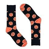 Novelty Socks for Men - Fun Colorful Dress Socks - Premium Cotton - Size 8-13 (One Pair) (Basketballs (Orange))