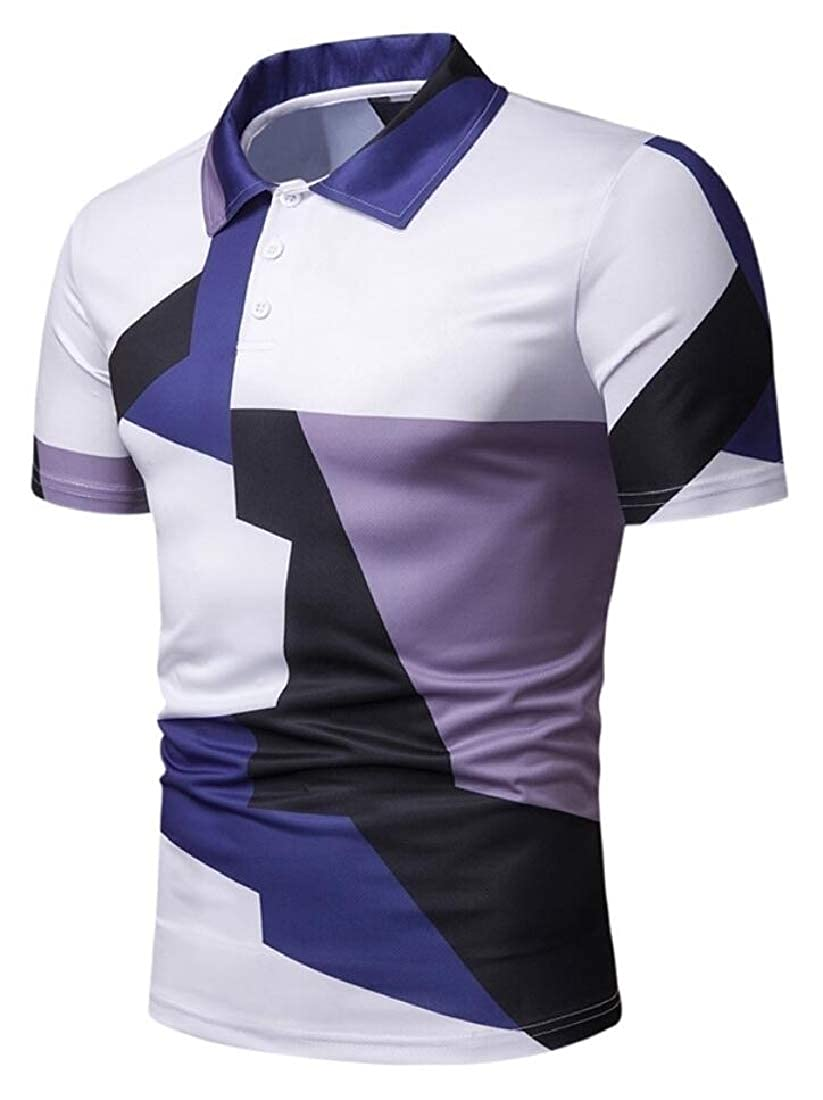 YY-qianqian Mens Slim Fit Breathable Hipster Short Sleeve Color Stitching Polo Shirt