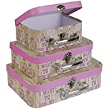 SLPR Paperboard Suitcases (Set of 3, French Inspiration) | Pink Boxes for Birthday Parties Wedding Decoration Displays Crafts Photo shoots