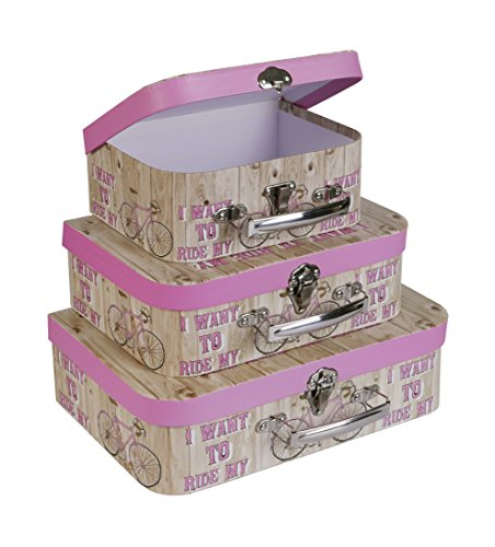 SLPR Paperboard Suitcases (Set of 3, French Inspiration) | Pink Boxes for Birthday Parties Wedding Decoration Displays Crafts Photo shoots Floral Nesting Table