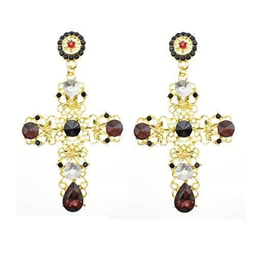 Cross Vintage (Vintage Gold Criss Cross Dangling Earrings Long Statement Chandelier Earrings for Women (Rose Red))
