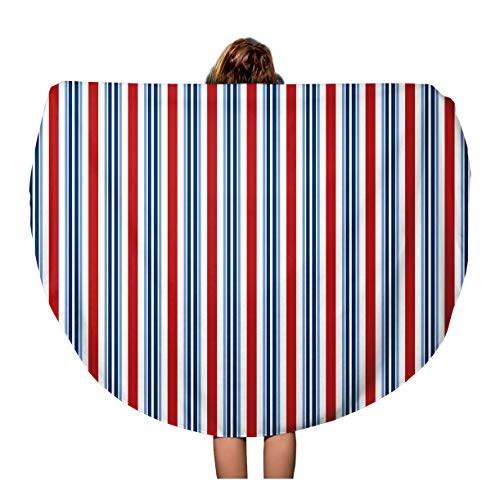 Pinbeam Beach Towel Americana Bright Red White Blue Stripe 4Th America Travel 60 inches Round Tapestry Beach Blanket