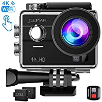 Jeemak 4K Action Camera Touch Screen WiFi Remote Control...