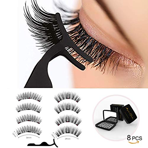 3D Magnetic Eyelashes Full Eyes No Glue 2 Pairs(8 pcs), Reusable Fake Magnetic Eyelashes with Tweezers and Mirror, Light weight Easy to Wear, 2 styles eyelashes in one black case