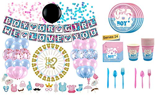 (Baby Gender Reveal Party Supplies 234-Piece Decorations Kit - Boy Or Girl Balloons, Banner, Tablecloth, Photo Booth Props, Cake Topper, Plates, Sash, Napkins & More - Cute Blue & Pink)