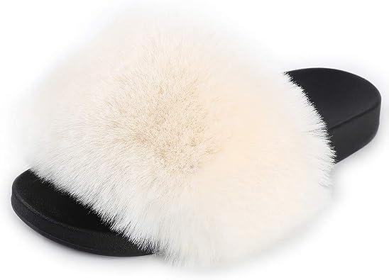 Details about  /Womens Fur Slides Open Toe Fuzzy Slippers Fluffy Sandals Flip Flop Faux Fur Flat