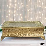 18 pedestal cake stand - BalsaCircle 18-Inch Gold Plated Square Embossed Wedding Cake Stand - Birthday Party Dessert Display Pedestal Centerpiece Riser