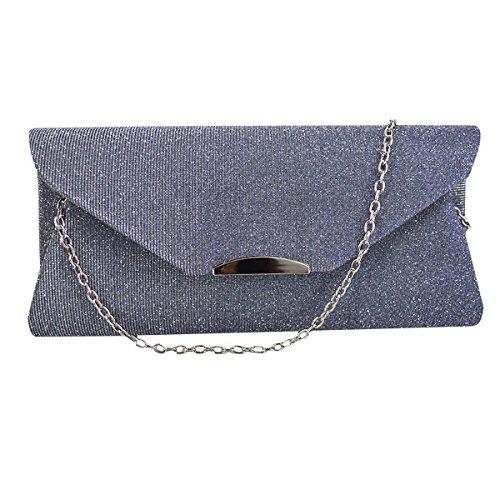 Evening Grey Light Chain Womens LA Prom Envelope Bag Bag Shoulder Clutch HAUTE Glitter Purse Handbag OqOxw6aXv