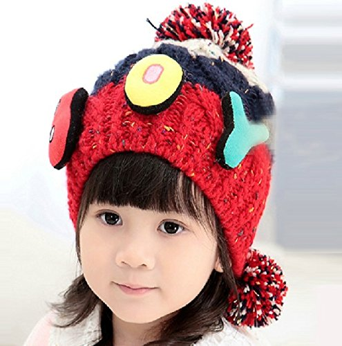 Little Hero Applique - Dealzip Inc Fashion Unisex Baby Girls Children Kids Toddler Letters BOY Applique Colorful Knitting Wool Winter Warm Earmuff Beanie Cap Hat (Red)