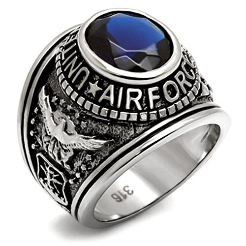 Drop of Silver Stainless Steel US Air Force USAF Military Ring with Blue Stone, Size 11