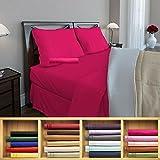 Clara Clark 1800 series Silky Soft 4 piece Bed Sheet Set Queen Size, Hot Pink