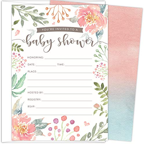 Koko Paper Co Baby Shower Invitations. Set of 25 Fill-In Style Cards and White Envelopes. Light Pink and Green Florals Designs. Printed on Heavy Card Stock.
