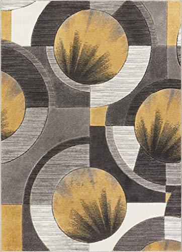 Well Woven Sunburst Gold, Light Grey, Charcoal Modern 5x7 (5'3