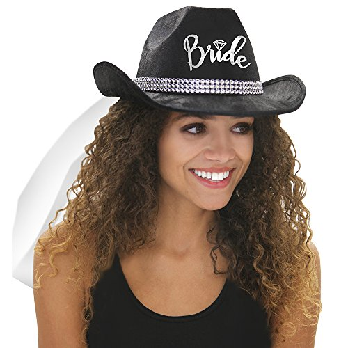 Country Western Silver Glitter 'Bride' Black Hat with White Veil - Cowgirl Bachelorette Party or Bridal Shower Accessory